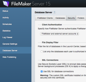 FileMaker Server Admin Console Settings